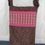 Wheelchair Bag - Flowers with Pink Plaid Accents