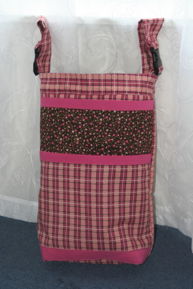 Wheelchair Bag - Pink Plaid with Flower Accents